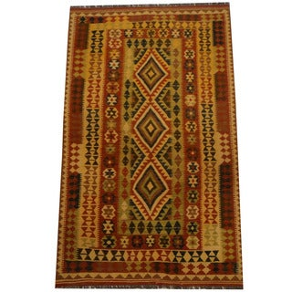Herat Oriental Afghan Hand-woven Vegetable Dye Wool Kilim (4'9 x 8')