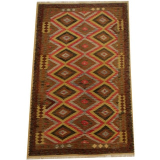 Herat Oriental Afghan Hand-woven Vegetable Dye Wool Kilim (5'2 x 8'3)