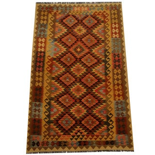 Herat Oriental Afghan Hand-woven Vegetable Dye Wool Kilim (5'4 x 8'4)