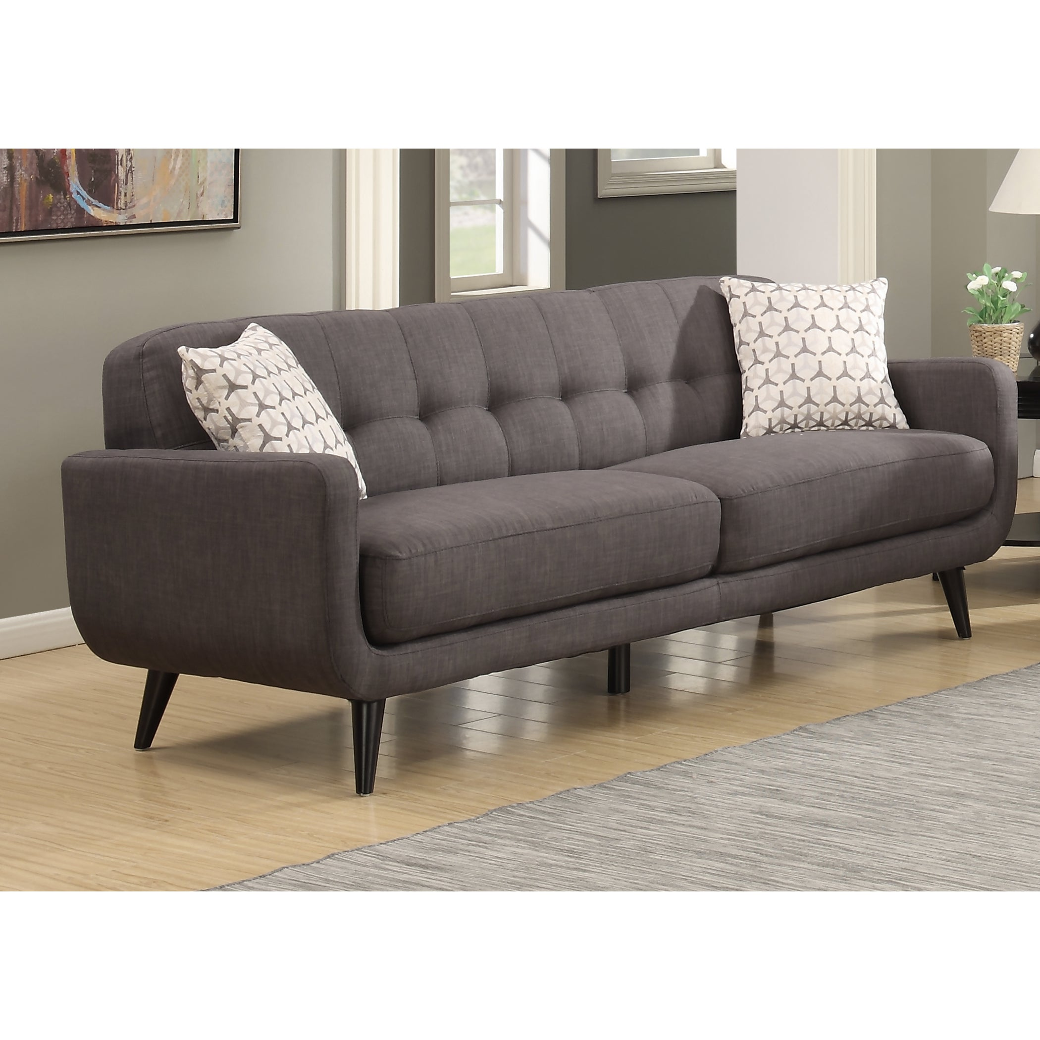 Bon Shop Crystal Mid Century Modern Charcoal Sofa   Free Shipping On Orders  Over $45   Overstock.com   12637209