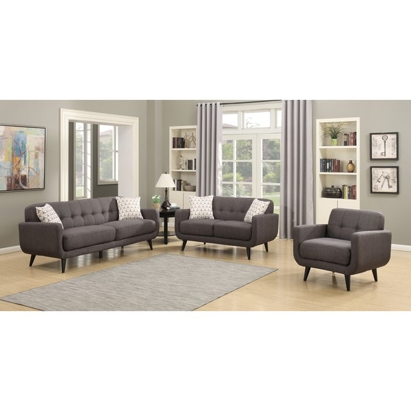 Crystal Charcoal 3 Piece Living Room Sofa Set Free Shipping Today Overstock 19428787