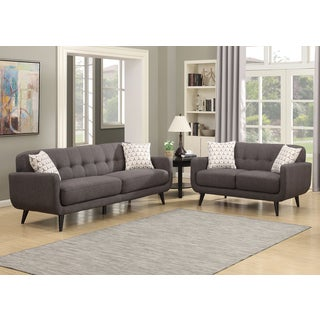 Crystal Charcoal 2-Piece Sofa and Loveseat Living Room Set