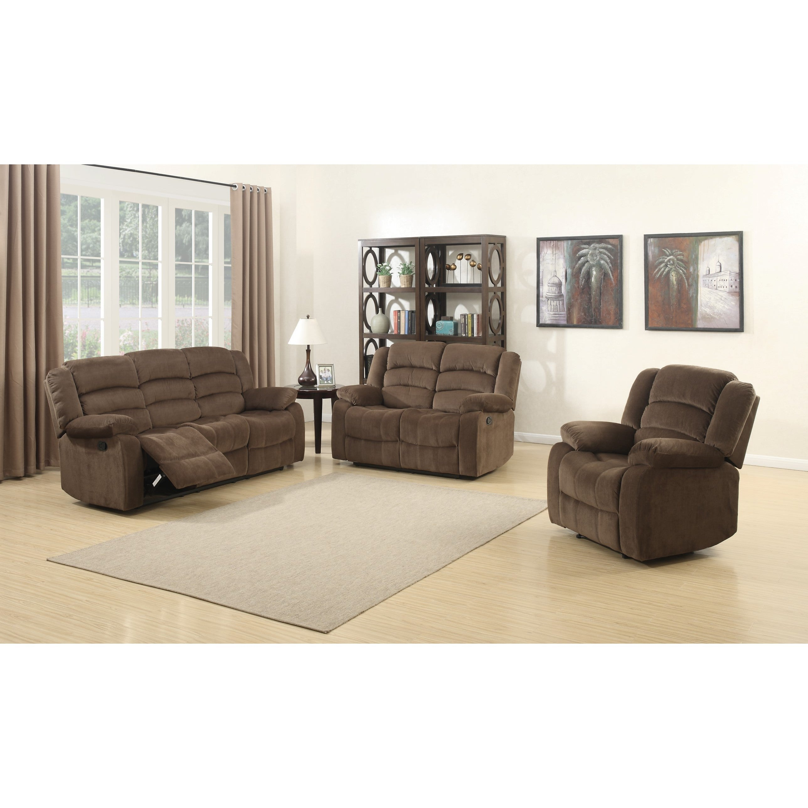 Shop Bill 3 Piece Contemporary Brown Reclining Living Room Set Free Shipping On