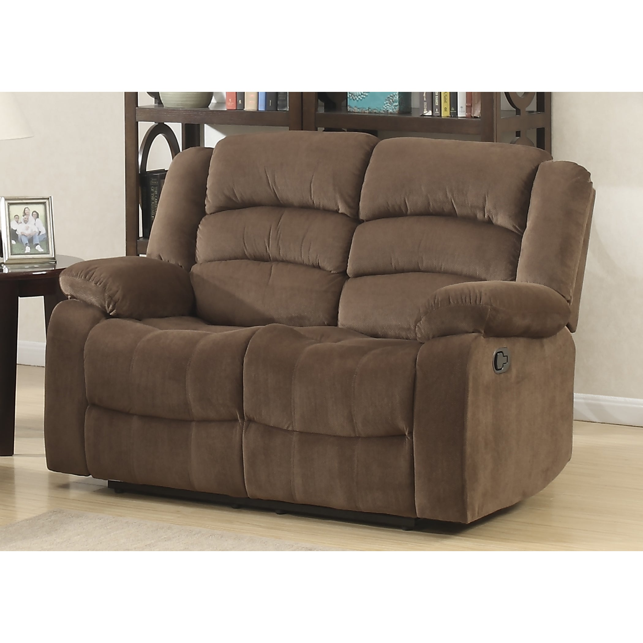 Details About Double Recliner Chair Dual Reclining Loveseat Polyester Soft Brown Comfy Tv Room