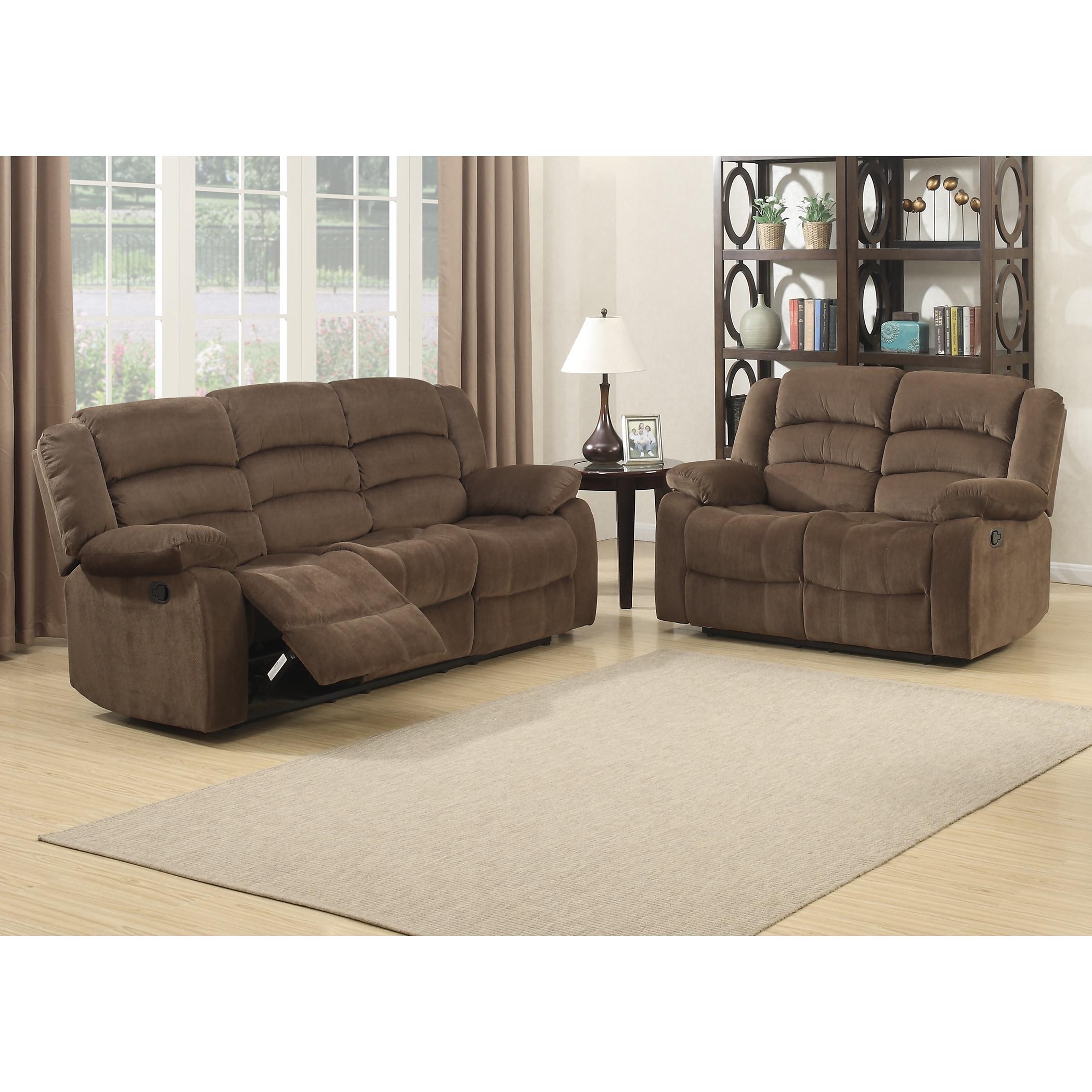Bill 2 Piece Contemporary Brown Reclining Living Room Set Overstock 12637215