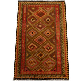 Herat Oriental Afghan Hand-woven Vegetable Dye Wool Kilim (5' x 8'1)