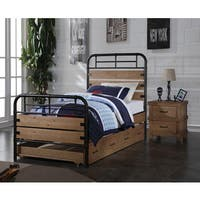 Adams Industrial Twin Bed with Optional Trundle, Antique Oak