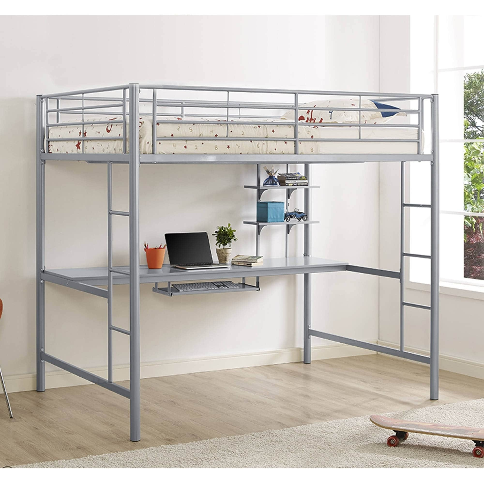 Silver Metal Full Loft Bed with Desk (Silver Metal Full L...