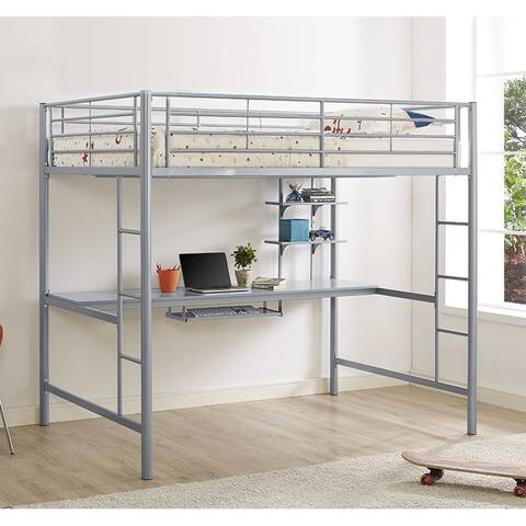 Taylor & Olive Abner Silver Metal Full Loft Bed with Desk