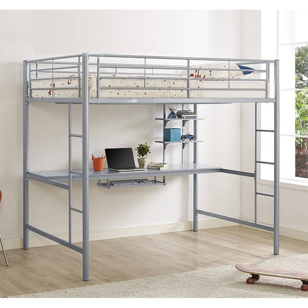 Silver Metal Full Loft Bed with Desk
