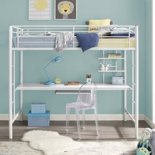 White Metal Full Loft Bed with Workstation