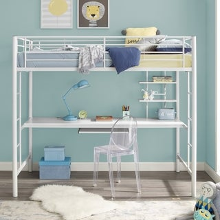 White Metal Full Loft Bed with Desk