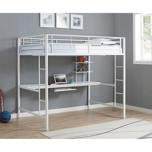 03a2587cda9a Shop Taylor   Olive Baikal White Metal Full Loft Bed with Desk ...