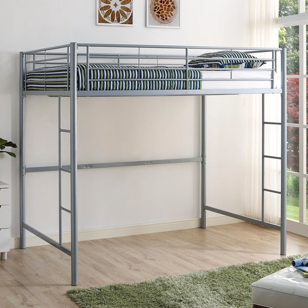 2817939b87b7 Shop Taylor   Olive Baikal Silver Metal Full Loft Bed - Free Shipping Today  - Overstock - 12637228