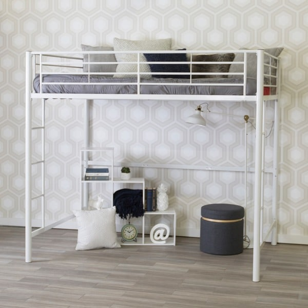 Taylor & Olive Abner White Metal Full Loft Bed