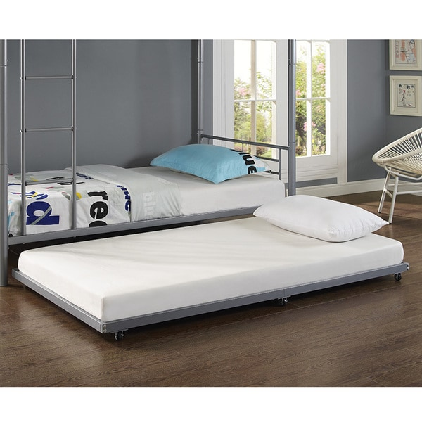 Shop Metal Roll-Out Twin Trundle Bed Frame - Silver - On Sale - Free ...