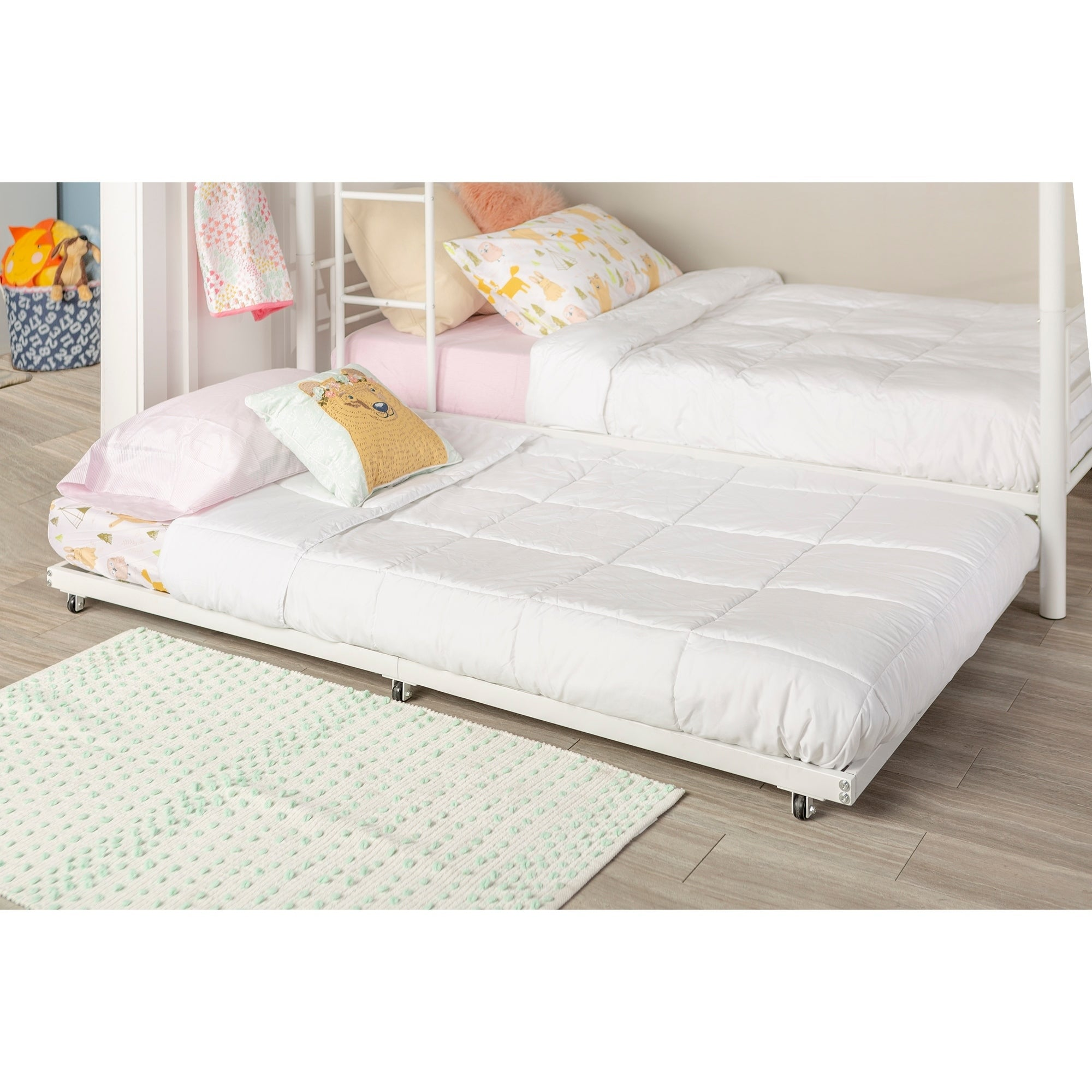 Picture of: Metal Roll Out Twin Trundle Bed Frame White Overstock 12637231