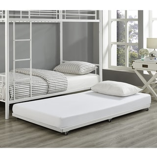 Twin Metal Trundle Bed Frame- White