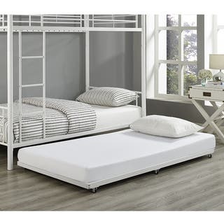 Metal Roll-Out Twin Trundle Bed Frame - White