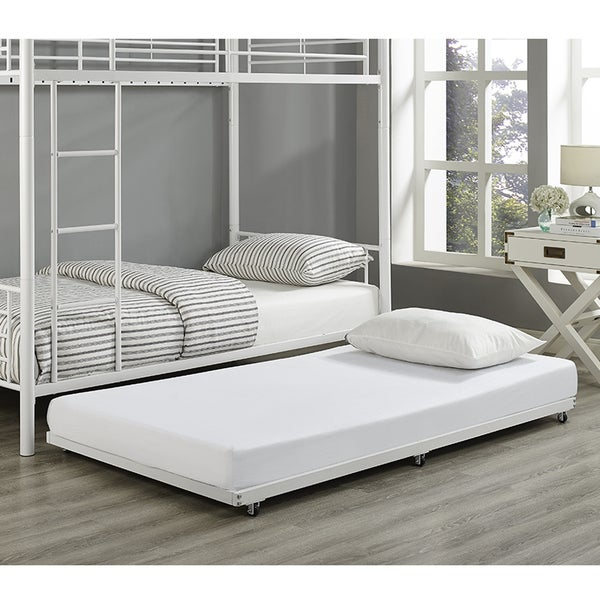 Shop Twin White Metal Trundle Bed Frame - On Sale - Free Shipping ...