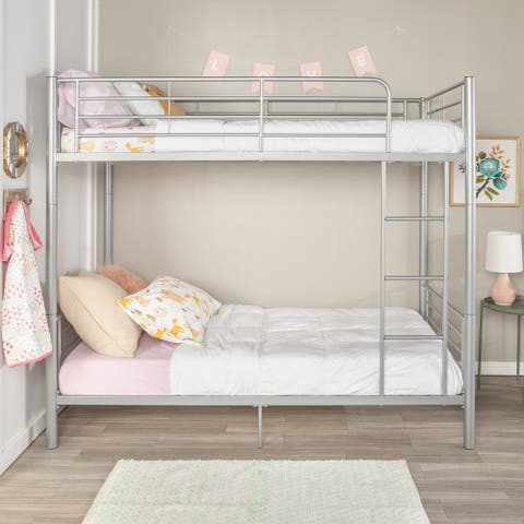 Taylor & Olive Abner Silver Metal Twin over Twin Bunk Bed