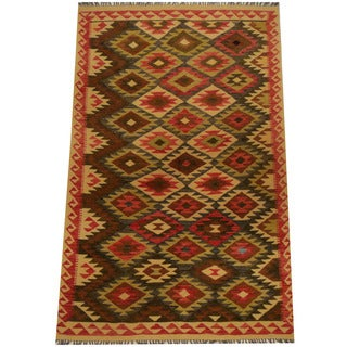 Herat Oriental Afghan Hand-woven Vegetable Dye Wool Kilim (5' x 8')