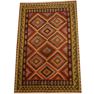 Herat Oriental Afghan Hand-woven Vegetable Dye Wool Kilim (5'5 x 8')