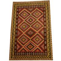 Herat Oriental Afghan Hand-woven Vegetable Dye Wool Kilim (5'5 x 8')