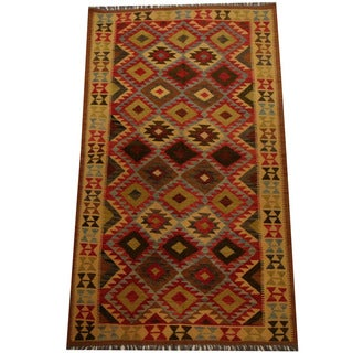 Herat Oriental Afghan Hand-woven Vegetable Dye Wool Kilim (4'9 x 8'3)