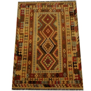 Herat Oriental Afghan Hand-woven Vegetable Dye Wool Kilim (5'3 x 7'5)