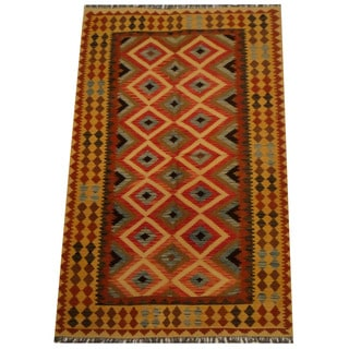 Herat Oriental Afghan Hand-woven Vegetable Dye Wool Kilim (5'3 x 8'3)