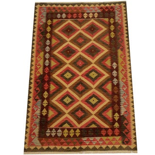 Herat Oriental Afghan Hand-woven Vegetable Dye Wool Kilim (5'4 x 8'1)