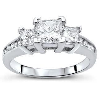 Noori 14k Gold 1ct tdw 3 Stone Princess Cut Diamond Engagement Ring