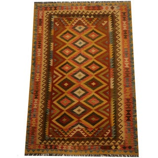 Herat Oriental Afghan Hand-woven Vegetable Dye Wool Kilim (5'4 x 7'10)
