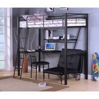 Senon Loft Bed with Desk, Silver & Black