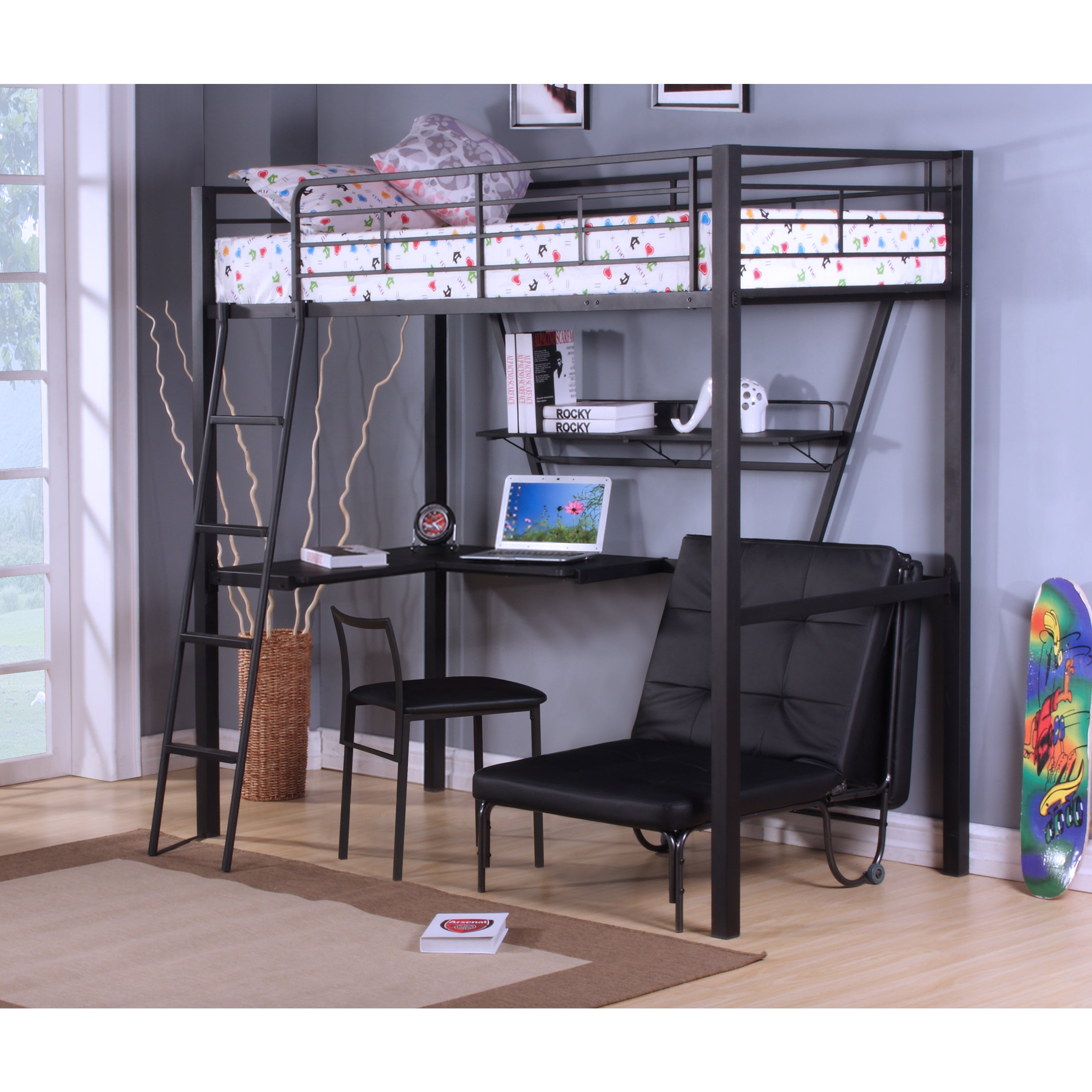 Amazing Senon Loft Bed With Desk Silver Black Bralicious Painted Fabric Chair Ideas Braliciousco