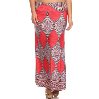 Women's Pink/Green Polyester/Spandex Plus-size Ornate Tapestry Maxi Skirt