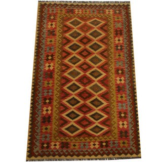 Herat Oriental Afghan Hand-woven Vegetable Dye Wool Kilim (5'3 x 8'4)