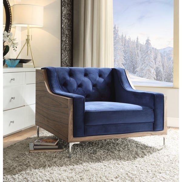Chic Home Clark Walnut/ Chrome Velvet Upholstered Modern Contemporary  Button Tufted Swoop