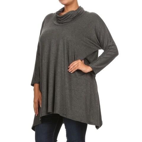 Women's Plus-size Solid Cowl Neck Top