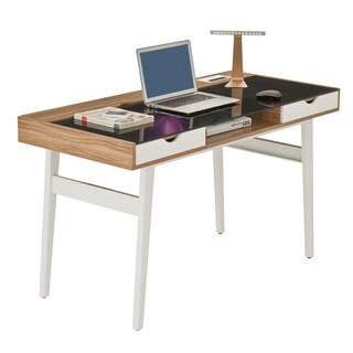 Mordern Designs Walnut Compact Computer Desk With Storage Drawers