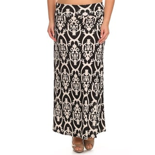 Women's Plus-size Damask Maxi Skirt