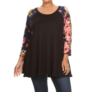 Women's Multicolored Floral-sleeve Rayon/Spandex Plus-size Top