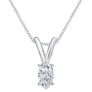 Divina 14k White Gold 1/4ct TDW Marquise Solitaire Diamond Pendant Necklace I2)