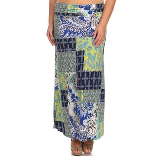 Quilt -style Plus Size Polyester Maxi Skirt