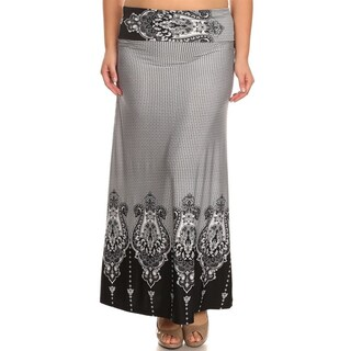 Women's Plus-size Black Border Maxi Skirt