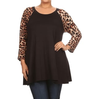 Women's Rayon Plus Size Tunic with Animal Sleeves