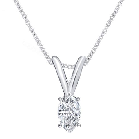 Divina 14k White Gold 1/5ct TDW Marquise Solitaire Diamond Pendant Necklace I2) - n/a