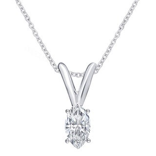 Divina 14k White Gold 1/5ct TDW IGL Certified Marquise Solitaire Diamond Pendant Necklace (J-I2)