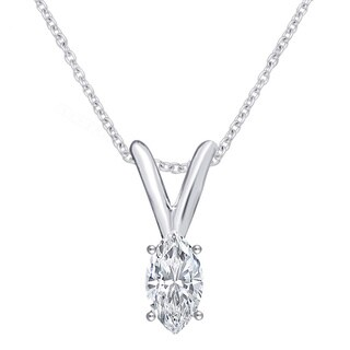 Divina 14k White Gold 1/5ct TDW Marquise Solitaire Diamond Pendant Necklace I2)